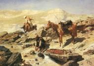 Отдыхающие черкесы со своими лошадьми у горного ручья