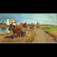 Грунтовая дорога с двумя телегами перед православной церковью