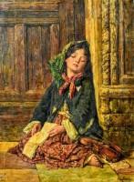 Спящая девочка-скрипачка