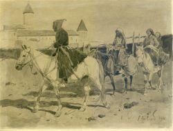 Горцы на фоне монастыря - © Музей-панорама «Бородинская битва»
