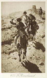 Кавказские всадники, несущиеся вниз с горы