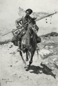 Знаменосец. Черкес на коне в степи