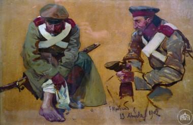 Раненый солдат и солдат с сапогом - © Севастопольский военно-исторический музей-заповедник