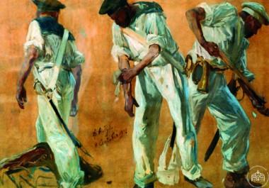 Три матроса в боевой обстановке - © Севастопольский военно-исторический музей-заповедник