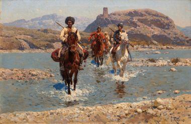 Кавказ. Горцы, переправляющиеся через реку