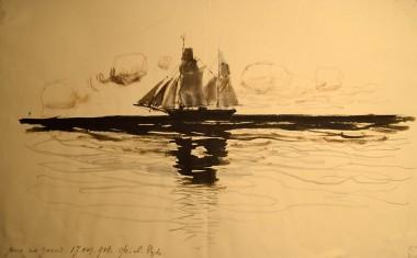 Парусное судно в море - © Научно-исследовательский музей при Российской академии художеств