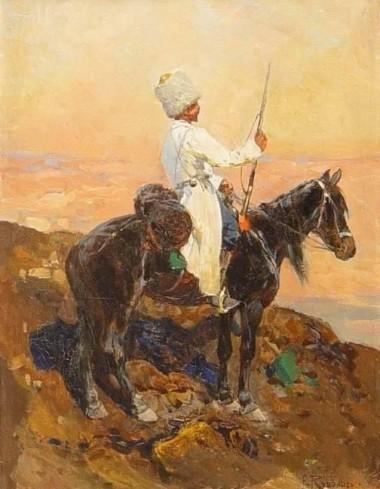 Кавказ. Горец в белой черкеске