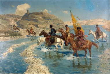 Черкесы, переходящие вброд реку