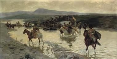 Черкесы с воловьими повозками форсируют реку