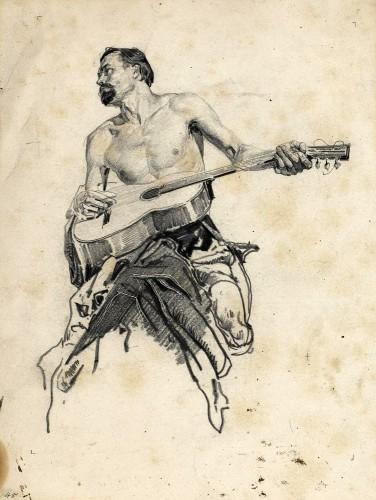 Всадник играет на гитаре
