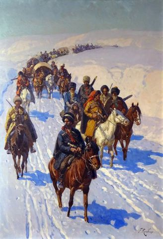 «Черкесский отряд с обозом, пересекающий заснеженные кавказские горы»